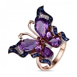 Золотое кольцо c аметистами, бриллиантами, рубинами и сапфирами Весенние бабочки