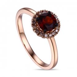 Золотое кольцо c бриллиантами и гранатом
