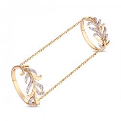 Золотое кольцо в виде перьев c бриллиантами