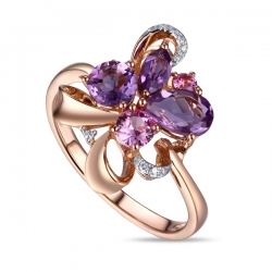 Золотое кольцо c аметистами, бриллиантами и сапфирами