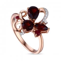 Золотое кольцо c бриллиантами, гранатами и рубинами