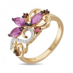 Золотое кольцо c аметистами, бриллиантами, родолитами и сапфиром