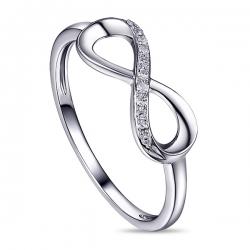 Золотое кольцо в виде знака бесконечности c бриллиантами