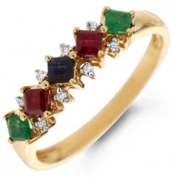 Золотое кольцо c бриллиантами, изумрудами, рубинами и сапфиром