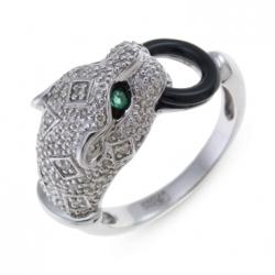 Кольцо «Пантера» из белого золота c бриллиантами, изумрудами и ониксом