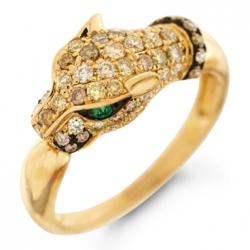 Золотое кольцо «Пантера» c бриллиантами и изумрудами