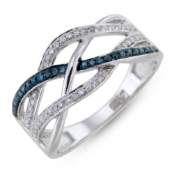 Кольцо из белого золота c синими бриллиантами