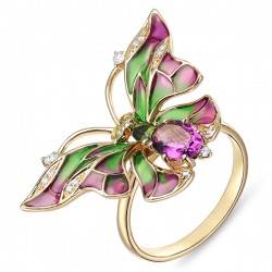 Золотое кольцо «Мотылек» c аметистом, бриллиантами, эмалью, цаворитами и турмалином