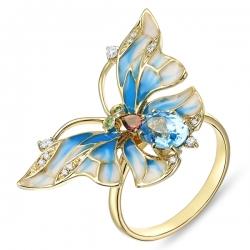 Кольцо «Бабочка» из желтого золота c топазом, бриллиантами, эмалью, цаворитами и турмалином