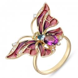 Золотое кольцо «Бабочка» c аметистом, топазом, бриллиантами, эмалью и цаворитами