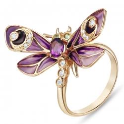Золотое кольцо «Стрекоза» c аметистом, бриллиантами, эмалью, топазами и цаворитами