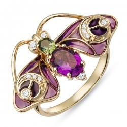 Золотое кольцо «Мотылек» c аметистом, бриллиантами, эмалью и турмалином