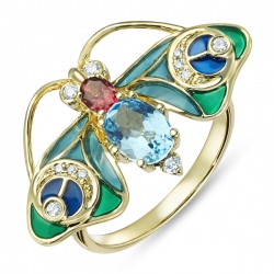Кольцо Стрекоза из желтого золота c топазом, бриллиантами, эмалью и турмалином