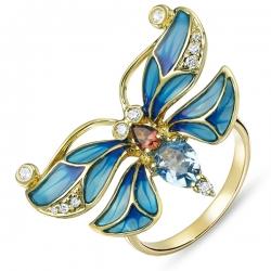 Кольцо Стрекоза из желтого золота c топазами, бриллиантами, эмалью и турмалином