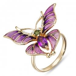 Золотое кольцо «Бабочка» c аметистом, бриллиантами, эмалью и турмалином