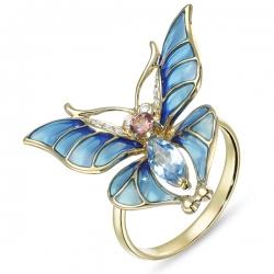 Кольцо «Бабочка» из желтого золота c топазом, бриллиантами, эмалью и турмалином