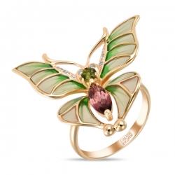 Золотое кольцо c бриллиантами, эмалью и турмалинами Весенние бабочки
