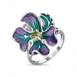 Кольцо в виде цветка из белого золота c бриллиантами, эмалью и перидотом
