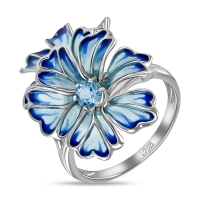 Кольцо Цветок из белого золота c топазами, бриллиантами и эмалью