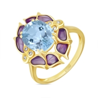 Кольцо Цветы из желтого золота c топазом, бриллиантами и эмалью