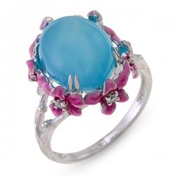 Золотое кольцо c халцедоном, бриллиантами и эмалью