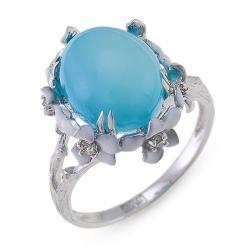 Кольцо из белого золота c халцедоном, бриллиантами и эмалью
