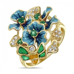 Кольцо с цветами из желтого золота c бриллиантами, эмалью и изумрудами