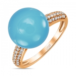 Золотое кольцо c халцедоном и бриллиантами