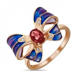 Золотое кольцо Бантик c бриллиантами, эмалью и турмалином