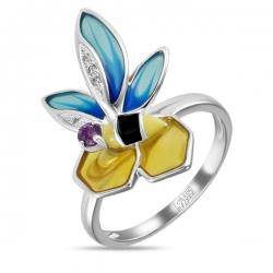 """Кольцо """"Пчела"""" из белого золота c аметистом, бриллиантами и эмалью"""