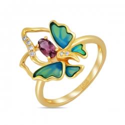Кольцо Бабочка из желтого золота c бриллиантами, эмалью и турмалином