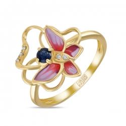 Кольцо с бабочкой из желтого золота c бриллиантами, эмалью и сапфиром