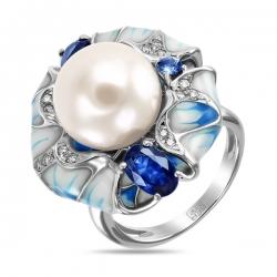Кольцо Цветок из белого золота c бриллиантами, эмалью, жемчугом и сапфирами