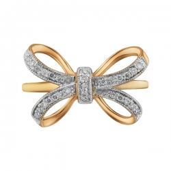 Золотое кольцо Бант c бриллиантами