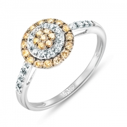 Кольцо из белого золота c желтыми бриллиантами