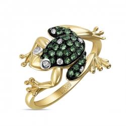 Кольцо Лягушка из желтого золота c зелеными гранатами
