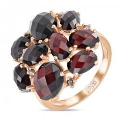 Золотое кольцо c бриллиантами и гранатами