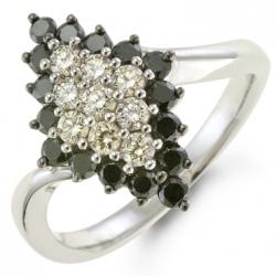 Золотое кольцо c черными бриллиантами