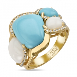 Кольцо из желтого золота c агатами, бирюзой, бриллиантами и сапфиром