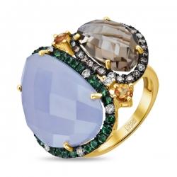Кольцо из желтого золота c халцедоном, цитринами, бриллиантами, гранатами и кварцем