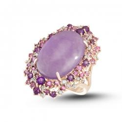 Золотое кольцо c аметистами, бриллиантами, сапфирами и аметист/жадеитом