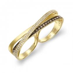Кольцо Геометрия из желтого золота c бриллиантами