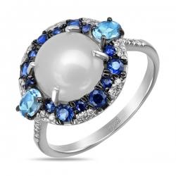 Кольцо из белого золота c топазами, халцедоном, бриллиантами и сапфирами