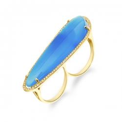 Кольцо из желтого золота c агатом и бриллиантами