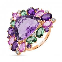 Золотое кольцо c аметистами, бриллиантами, гранатами и сапфирами