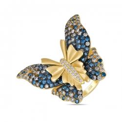 "Кольцо из желтого золота ""Бабочка"" c синими бриллиантами"