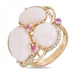 Золотое кольцо c бриллиантами, опалами и сапфирами