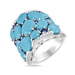 Кольцо из белого золота c бирюзой, бриллиантами и сапфирами