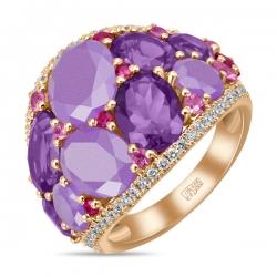 Золотое кольцо c аметистами, бриллиантами, жадеитами, рубинами и сапфирами