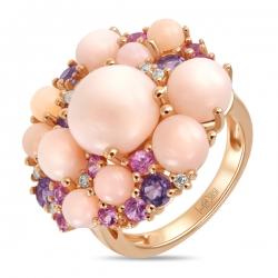 Золотое кольцо c аметистами, бриллиантами, опалами и сапфирами